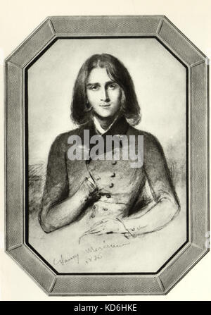 Franz Liszt as a young man in 1836. Portrait by Nancy Mérienne, painted in Geneva - Hungarian pianist and composer. - Stock Photo