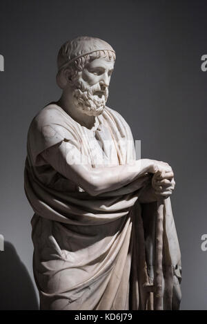 Naples. Italy. Statue of Isocrates with head of the Farnese Homeric / Sophocles type, (1st century B.C.) from the - Stock Photo