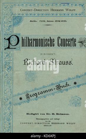 Richard Strauss Berlin  Hofkapellmeister programme cover.  Philharmonische Concerte, 1894/1895 season with  Berlin - Stock Photo