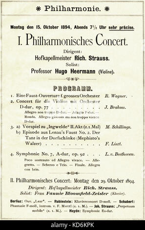 Richard Strauss Berlin  Hofkapellmeister programme 15 October 1894. Inside Philharmonische Concert, 1894/1895 season - Stock Photo