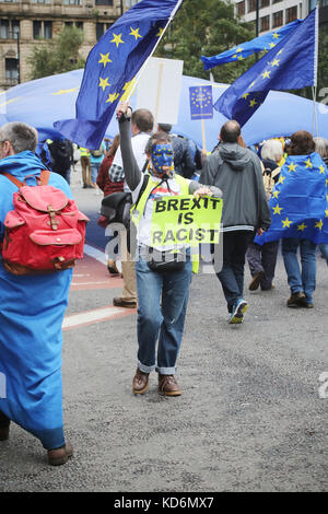 Brexit is racist placard at Manchester #StopBrexit demo - Stock Photo