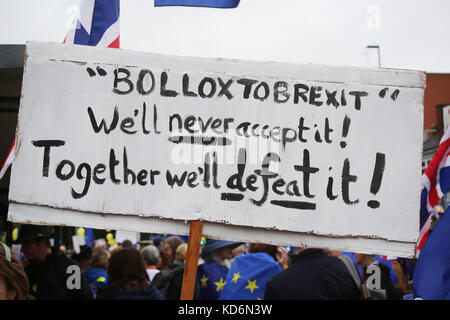 Bollox to Brexit placard at Manchester #StopBrexit demo - Stock Photo