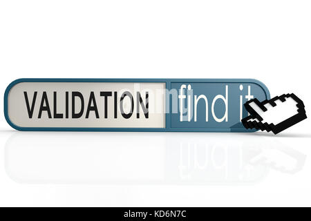 Validation word on the blue find it banner image with hi-res rendered artwork that could be used for any graphic - Stock Photo