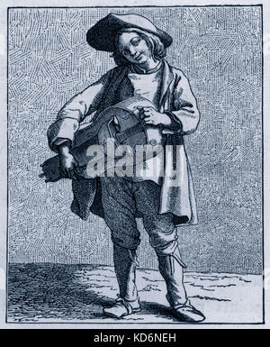 Daily life in French history: a hurdy-gurdy player / street musician in 18th century Paris, France. Working class, - Stock Photo