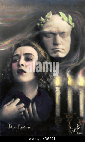 Romantic impression of Ludwig van Beethoven's music influencing young girl.  Music, flickering candle and life mask. - Stock Photo