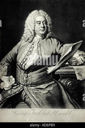George Frederic Handel by Hudson, circa 1748.  German-English composer 1685-1759 - Stock Photo