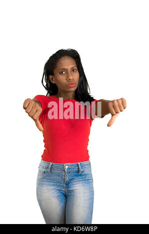 Woman making two thumbs down - Stock Photo
