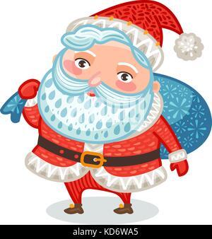 Cute Santa Claus with full bag of gifts. Christmas, xmas, new year symbol. Decorative vector illustration - Stock Photo