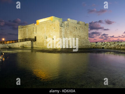 Paphos Castle or Fort sits at the edge of  Kato Paphos harbour, in the Republic of Cyprus, - Stock Photo