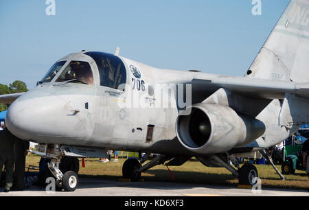 Stuart, Florida - November 10, 2007: US Navy fighter jet Lockheed S-3 Viking. These all weather carrier aircraft - Stock Photo