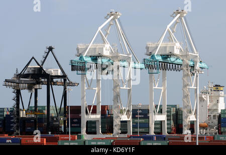 Miami, USA - July 18, 2008: Giant cranes move containers in the Port of Miami, Florida. Miami is one of the largest - Stock Photo