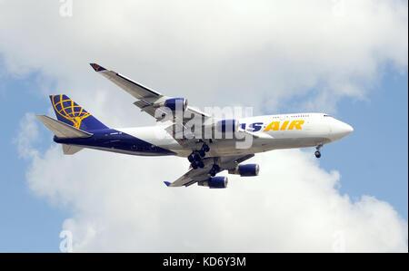 Miami, USA - September 17, 2011: Atlas Air heavy cargo jet landing at Miami International Airport. Atlas operated - Stock Photo