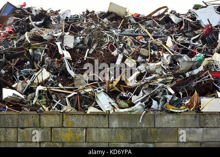 heap of scrap metal for recycling - Stock Photo