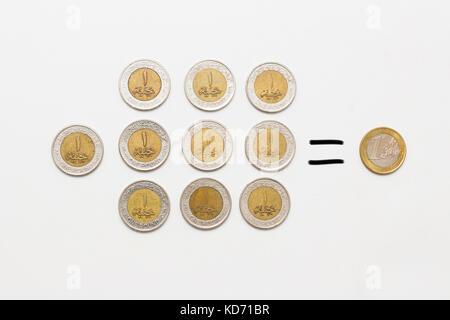 1 euro equals 10 Egyptian pounds, isolated on white background - Stock Photo