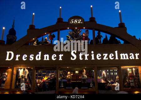 The decorated gate to the Christmas Market in Dresden, Germany. Traditional Christmas Markets Dresden Striezelmarkt - Stock Photo