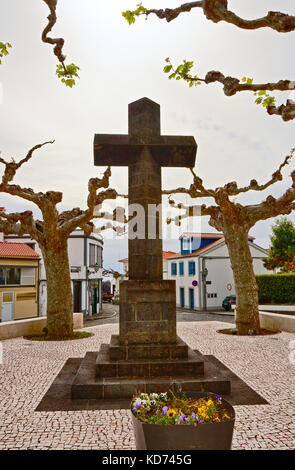 The monumental cross on the square in Lajes do Pico