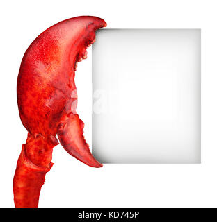 Lobster claw blank sign holding a card banner as a fresh seafood message or shellfish food concept with a red shell - Stock Photo