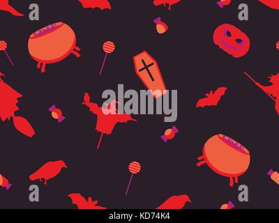 Halloween seamless pattern with pumpkins, bats and witches. Festive elements. Vector illustration - Stock Photo