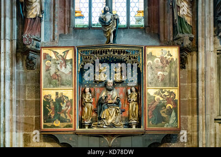 The altar of St. Peter, St. Sebalduskirche (Sebaldus Church), Nuremberg, Bavaria, Germany - Stock Photo