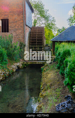 Watermill in the village Orbec, in the Calvados department in the Normandy region in northwestern France - Stock Photo