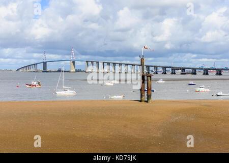 The Saint-Nazaire Bridge (Le pont de Saint-Nazaire), a cable-stayed bridge over the Loire river, linking Saint-Nazaire - Stock Photo
