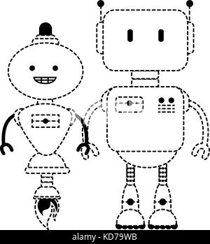 electronic robots characters icon vector illustration design - Stock Photo