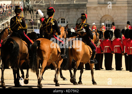 Cavalry taking part in the Trooping the Colour ceremony, London UK - Stock Photo