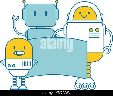 electronic robots with banner characters vector illustration design - Stock Photo