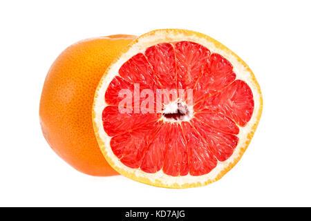 Grapefruit citrus fruit with half grapefruit isolated on white background. Whole grapefruit and half crop - Stock Photo