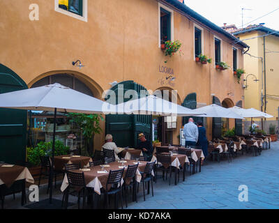 Beautiful restaurant in the historic city center of Lucca - Stock Photo