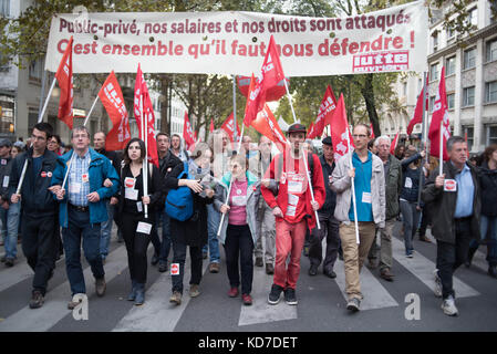 Demonstration in Paris of the civil service, Strike and public demonstration on Tuesday 10 October 2017 at the call - Stock Photo