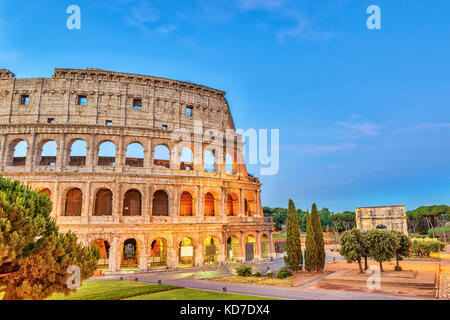 Rome sunrise city skyline at Rome Colosseum (Roma Coliseum), Rome, Italy - Stock Photo