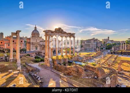 Rome sunrise city skyline at Rome Forum (Roman Forum), Rome, Italy - Stock Photo