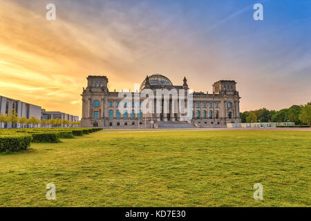 Berlin sunrise city skyline at Reichstag (German parliament building), Berlin, Germany - Stock Photo
