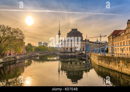 Berlin sunrise city skyline at Museum Island and Berline TV Tower, Berlin, Germany - Stock Photo