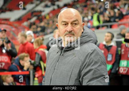 Kazan, Russia. 10th Oct, 2017. Russian national football team coach Stanislav Cherchesov before international test - Stock Photo