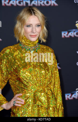 Los Angeles, USA. 10th Oct, 2017. Cate Blanchett at the premiere for 'Thor: Ragnarok' at the El Capitan Theatre - Stock Photo