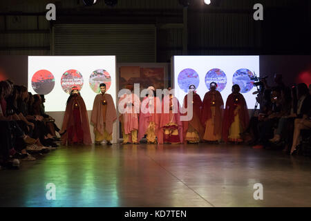 London, UK. 10th Oct, 2017. Victims of acid attacks from Bangladesh showcase fashion by fashion designer and former - Stock Photo