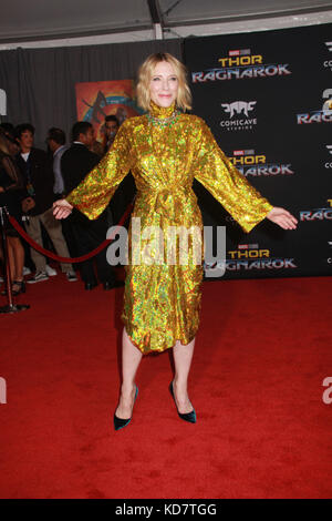 Los Angeles, USA. 10th Oct, 2017. Cate Blanchett  10/10/2017 The world premiere of 'Thor: Ragnarok' held at El Capitan - Stock Photo