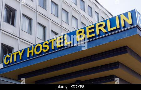 Entrance to the City Hostel Berlin, Germany - Stock Photo