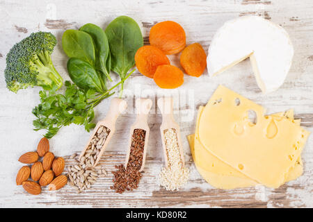 Ingredients or products containing calcium, dietary fiber and natural minerals, healthy lifestyle and nutrition - Stock Photo