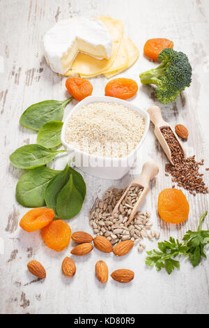 Ingredients or products containing calcium and dietary fiber, sources of minerals, healthy lifestyle and nutrition - Stock Photo