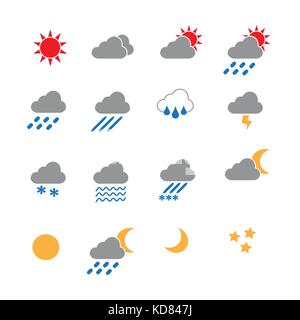 weather in color icons set vector - Stock Photo
