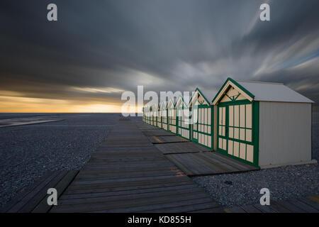 Beach huts,Cayeux-sur-Mer,Somme,Hauts-de-France,France - Stock Photo