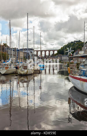 Morlaix, France - Sepetember 14, 2017: Marina of Morlaix with city and viaduct in background. - Stock Photo