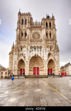 The Cathedral Basilica of Our Lady of Amiens or Basilique Cathédrale Notre-Dame d'Amiens, Front view - Stock Photo