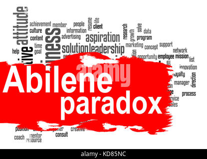 Abilene Paradox word cloud with red banner image with hi-res rendered artwork that could be used for any graphic - Stock Photo