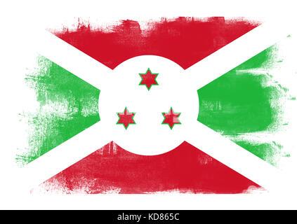 Flag of Burundi painted with brush on solid background, - Stock Photo