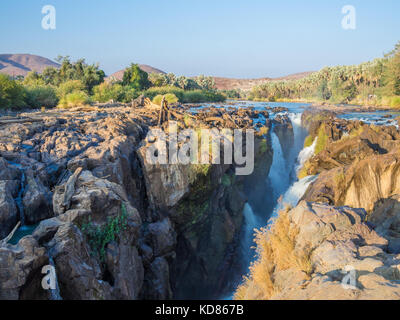 View over beautiful scenic Epupa Falls on Kunene River between Angola and Namibia, Southern Africa. - Stock Photo