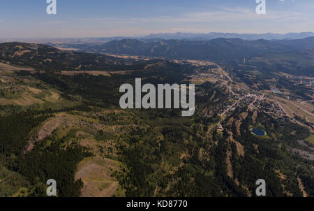 oblique aerial view of the former coal mining town of Bellevue, Municipality of Crows Nest Pass, Alberta, Canada - Stock Photo